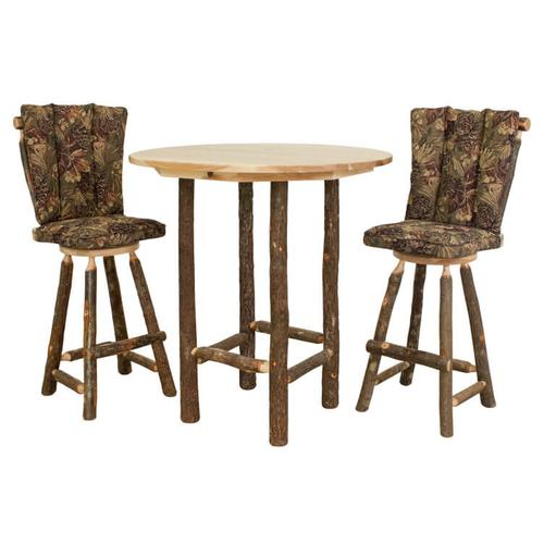 """Best Craft Furniture - Hickory 30"""" Swivel Barstool with Back and Upholstered Seat"""