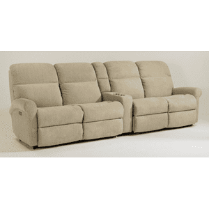 Flexsteel - Davis Fabric Reclining Console Theater Seating