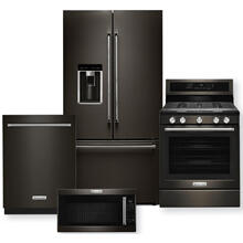 "KITCHENAID Black Stainless 36"" Counter-Depth French Door Platinum Interior Refrigerator Package- Open Box"