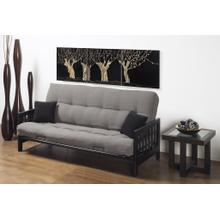 BLACK METAL FUTON WITH BLACK WOOD LATTICE  ARMS