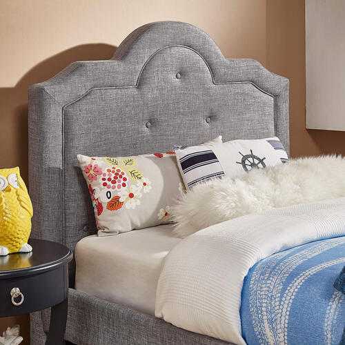 Homelegance - Twin Size Curved Top Tufted Headboard in Grey Linen