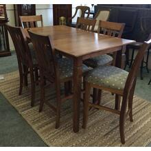 Counter Table w/6 Upholstered Chairs