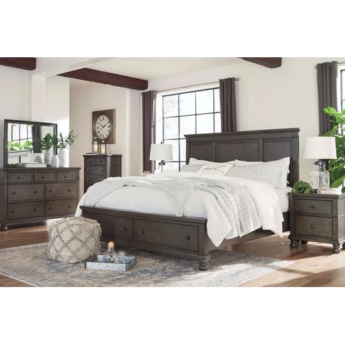 Devensted - Queen Panel Bed with Storage, Dresser, Mirror, 1 x Nightstand