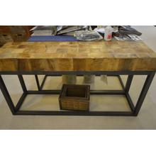 Ashley Furniture wooden top sofa table with metal base.