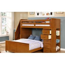 Multi-Purpose Loft - Twin Full Bunk Bed - Rustic Pecan