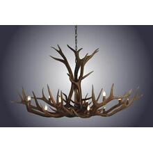 REAL 12 Light Single Tier Elk Antler Chandelier