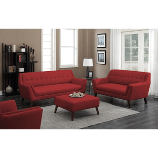 Binetti Sofa and Loveseat Set Red