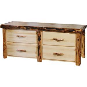 4 Drawer Dresser Flat Front Natural Panel Gnarly Log