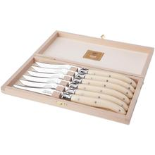 Claude Dozorme Laguiole Stainless Steel 6-Piece Steak Knife Set with Ivory Handle