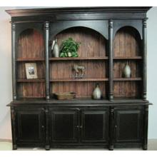 Payton Library Cabinet - Distressed Black with Chestnut Overtones