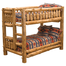 Cedar Log Twin/Twin Bunk Bed-Ladder Right