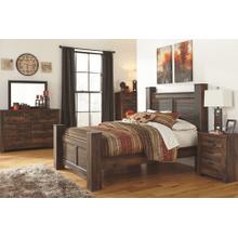 Quinden- Dark Brown- Dresser, Mirror, Chest, Nightstand & Queen Poster Bed