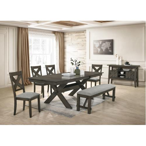 Gulliver Rustic Grey/Brown Barn Style 7 Pc Extendable Dinette Set By New Classic, Model D1902