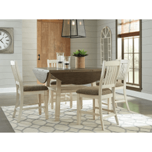 Bolanburg - Two-tone - 5 Pc. - Round Drop Leaf Counter Table & 4 Upholstered Barstools