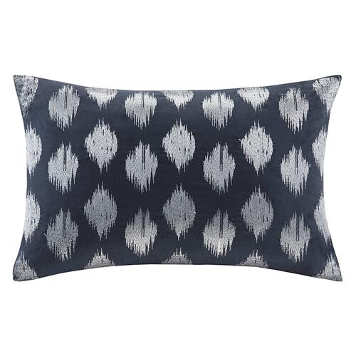 Nadia Dot Embroidered Navy Oblong Pillow