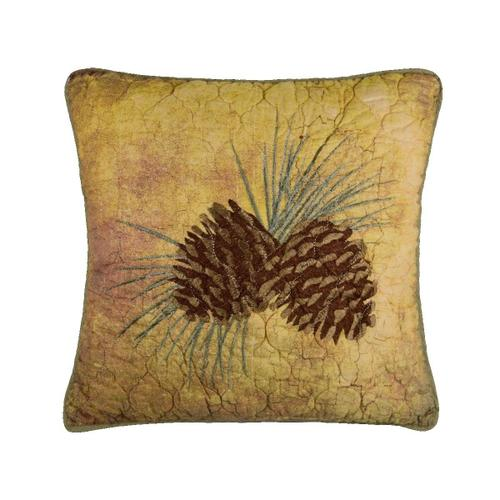 """Wood Patch """"Pinecone"""" Throw Pillow"""