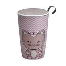 View Product - Eigenart Double Wall Porcelain Tea Cup Miss Miew S&y Teaeve with Porcelain Lid and Stainless Steel Tea Strainer, 11.85 Oz
