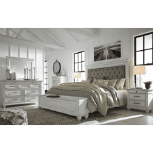 Kanwyn - Whitewash - 7 Pc. - Dresser, Mirror, Chest, Nightstand & King Upholstered Bed with Storage
