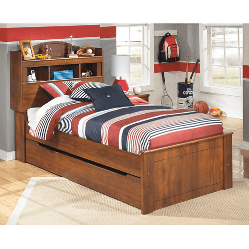 Barchan- Medium Brown- Twin Bookcase Bed with Trundle