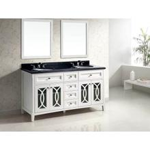 """60"""" Modern Vanity Cabinet with Double Sinks and Black Marble Top List Price: $2,820.00 for entire set"""