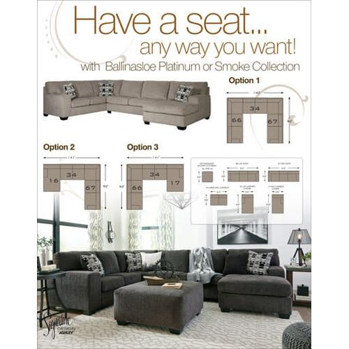 Ballinasloe - Platinum - 3-Piece Sectional with Left Facing Chaise