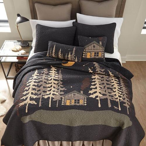 Moonlit Cabin Throw Pillow