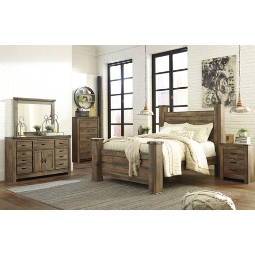 Trinell - Queen Poster Bed, Dresser, Mirror, & 1 x Nightstand