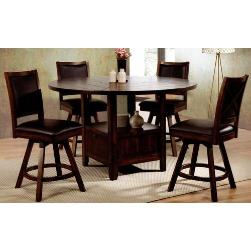 New Jersey Counter Height Dining - Drop Leaf Table and 4 Swivel Stools