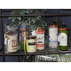 Soy-Based Candles Created from Premium wine and spirits bottles. $39.95-$55