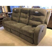 ID:221617 Power reclining sofa with power headrest in grey fabric.