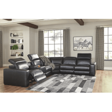 Mantonya - Midnight - 3 Power Recliner Sectional with Left Facing Storage
