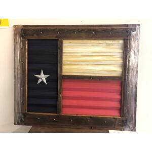 Texas Art - TEXAS METAL FLAG