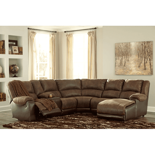 Nantahala - Coffee - 2 Recliner Sectional with Right Facing Chaise and Console