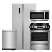 See Details - Frigidaire 18.8 Cu. Ft. 36'' Counter-Depth Refrigerator w/ Slide-In Electric Range 4 Piece Package- Open Box