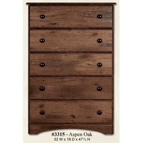 5 Drawer Chest Aspen Oak