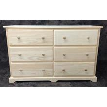 """Maine Made Traditional 6 Drawer Dresser 48""""W x 30""""H x 18""""D Pine Unfinished"""