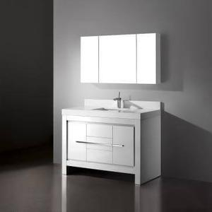 """Vicenza 60"""" Single Bowl Vanity in Glossy White Product Image"""