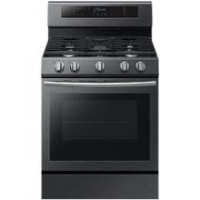 5.8 cu. ft. Gas Range with Convection, 5 burners with griddle and warming drawer in black stainless