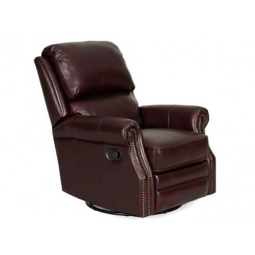 Mojave Leather Swivel Glider Recliner in Merlot