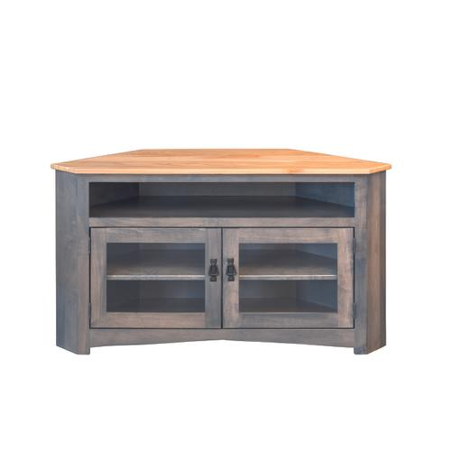 Country Value Woodworks - Large Mission Corner Entertainment Center With Glass Doors