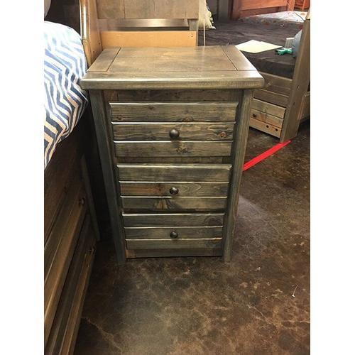3 Drawer Nightstand Rustic Grey