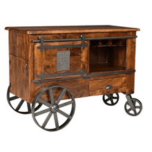 Two Door One Drawer Wine Cart