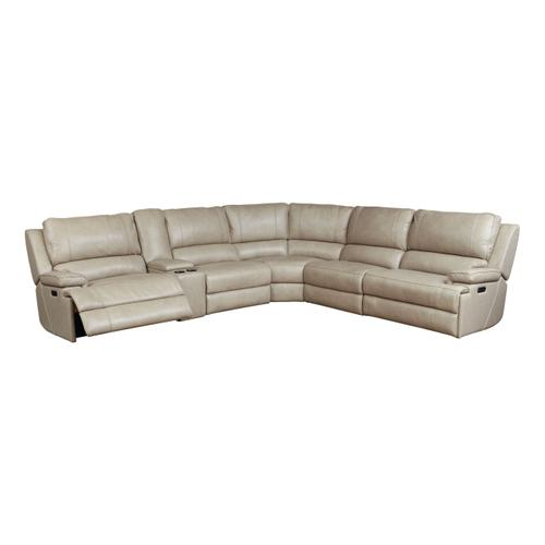 Bassett Furniture - Parsons Flax Leather Power Reclining Sectional with Power Tilt Headrests