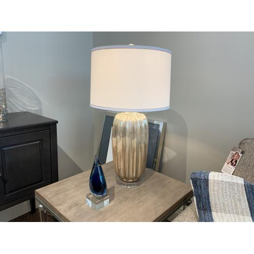 Silver Metallic Table Lamp with White Drum Shade