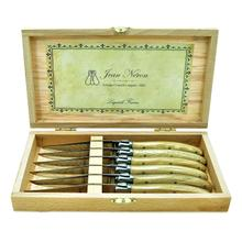 Laguiole 6-Piece 25/10 Stainless Steel Knife Set With Oak Handle In Deluxe Gift Box by Jean Neron