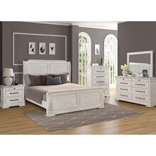 LIFESTYLE C8047A 045-050-QSO-QSG-BSN Gracie Antique Whitewash 3-Piece Bedroom Group - Queen Panel Sleigh Bed, Dresser & Mirror