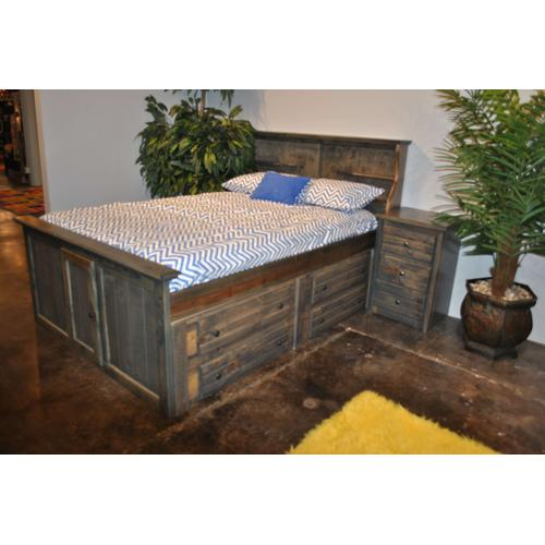"""Twin Captains Bed W"""" 4 Drawers Rustic Grey"""