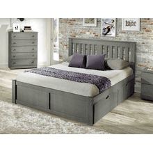 York Queen Platform Bed in Grey    (under drawers sold separately)   (INN-YORKQ)