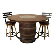 "AR379  56"" Whiskey Barrel Table with Red Oak Top"