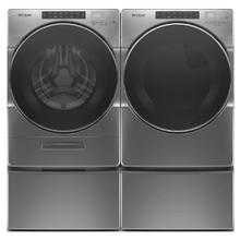 WHIRLPOOL Go XL Dispenser 4.5 Cu.Ft. Front Load Washer & 7.4 Cu.Ft. Electric Dryer with Pedestals - Chrome Shadow
